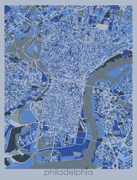 Wall Art - Digital Art - Philadelphia Map Retro 5 by Bekim M