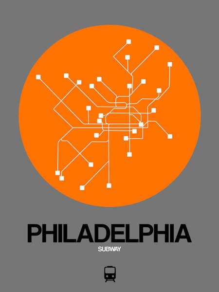 Subway Map Wall Art - Digital Art - Philadelphia Orange Subway Map by Naxart Studio
