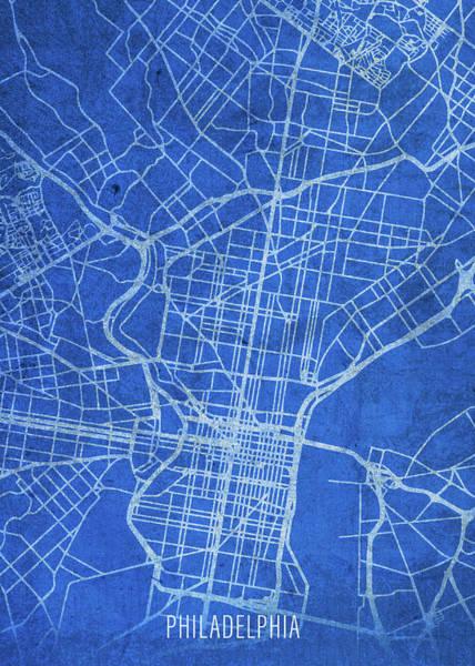 Wall Art - Mixed Media - Philadelphia Pennsylvania City Street Map Blueprints by Design Turnpike