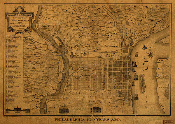 Wall Art - Mixed Media - Philadelphia Pennsylvania Vintage City Street Map 1875 by Design Turnpike