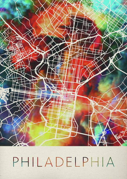 Wall Art - Mixed Media - Philadelphia Pennsylvania Watercolor City Street Map by Design Turnpike