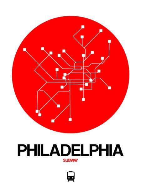 Subway Map Wall Art - Digital Art - Philadelphia Red Subway Map by Naxart Studio