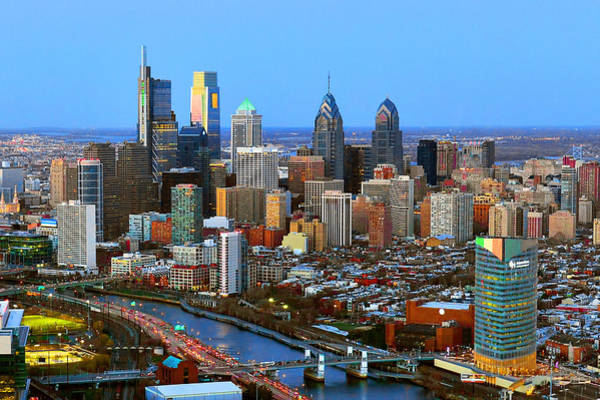 Pennsylvania Photograph - Philadelphia Skyline At Dusk 2018 by Jon Holiday