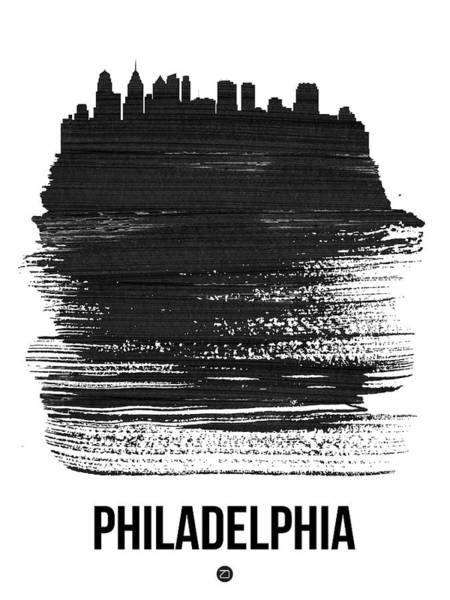 Philadelphia Cityscape Wall Art - Mixed Media - Philadelphia Skyline Brush Stroke Black by Naxart Studio