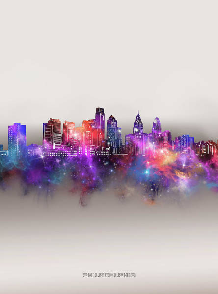 Wall Art - Digital Art - Philadelphia Skyline Galaxy by Bekim M
