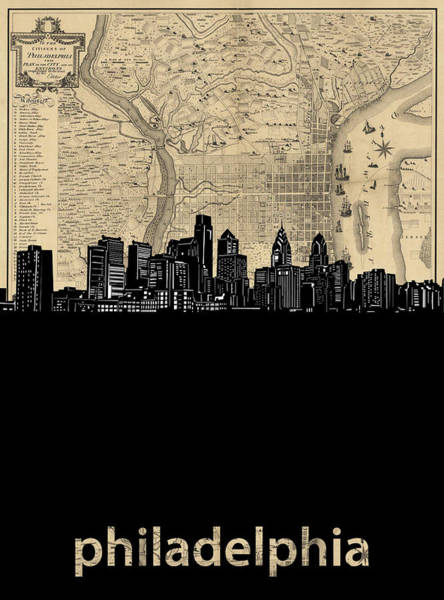 Wall Art - Digital Art - Philadelphia Skyline Map by Bekim M