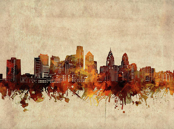 Wall Art - Digital Art - Philadelphia Skyline Sepia by Bekim M