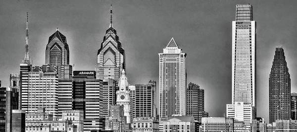 Photograph - Philadelphia Skyscraper Panorama In Black And White by Bill Cannon