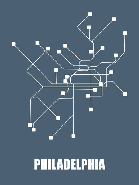 Wall Art - Digital Art - Philadelphia Subway Map by Naxart Studio
