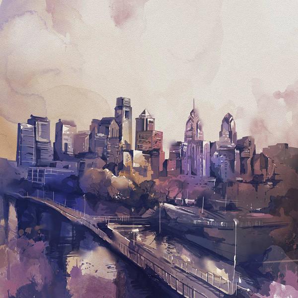 Philly Digital Art - Philadelphia Watercolor  by Bekim Art