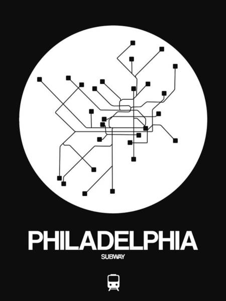 Wall Art - Digital Art - Philadelphia White Subway Map by Naxart Studio