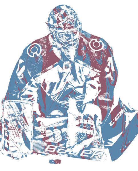 Wall Art - Mixed Media - Philipp Grubauer Colorado Avalanche Pixel Art 1 by Joe Hamilton