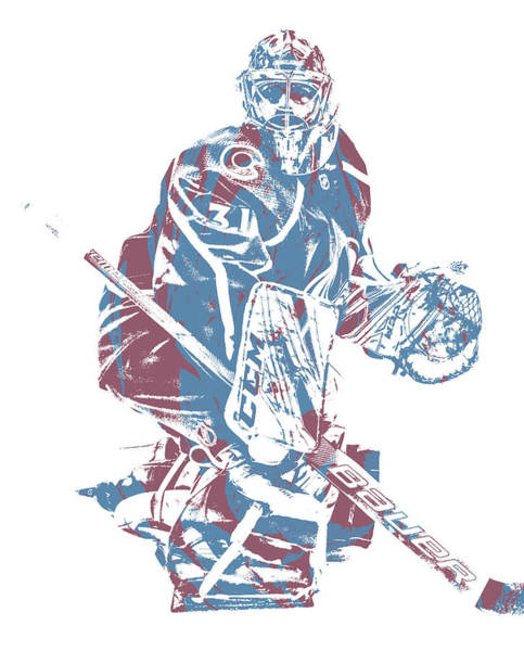 Wall Art - Mixed Media - Philipp Grubauer Colorado Avalanche Pixel Art 2 by Joe Hamilton