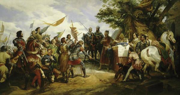 Wall Art - Painting - Philippe Auguste A La Bataille De Bouvines, 1214 by Horace Vernet