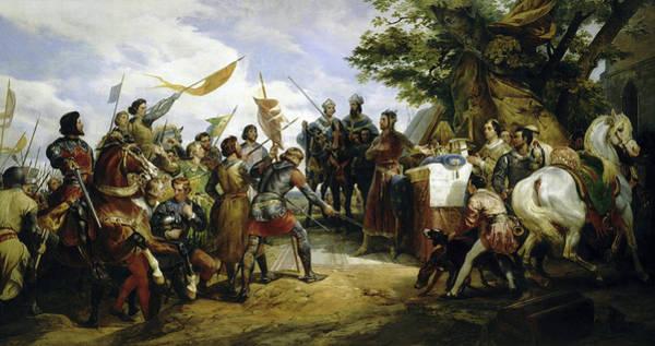 Wall Art - Painting - Philippe Auguste A La Bataille De Bouvines by Horace Vernet