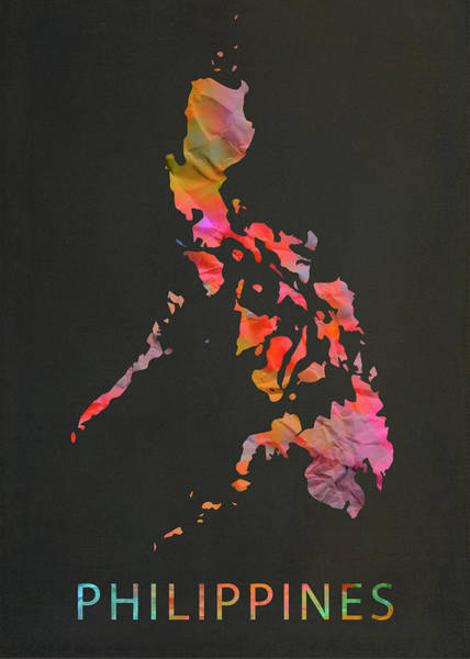 Wall Art - Mixed Media - Philippines Tie Dye Country Map by Design Turnpike