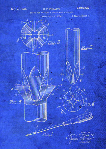 Patent Mixed Media - Phillips Head Screwdriver Patent Blueprint 2 by Design Turnpike