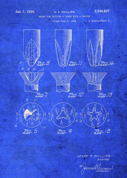 Patent Mixed Media - Phillips Head Screwdriver Patent Blueprint by Design Turnpike