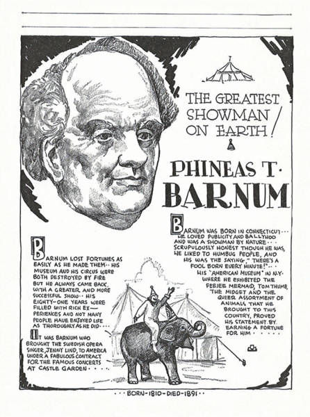 Wall Art - Drawing - Phineas T. Barnum - The Greatest Showman On Earth by Zal Latzkovich