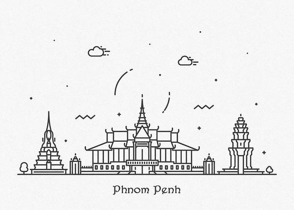 Wall Art - Drawing - Phnom Penh Cityscape Travel Poster by Inspirowl Design