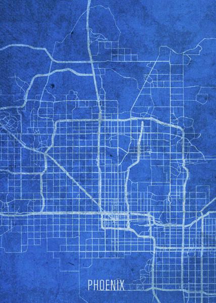 Wall Art - Mixed Media - Phoenix Arizona City Street Map Blueprints by Design Turnpike