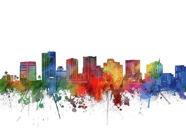 Wall Art - Digital Art - Phoenix City Skyline Watercolor by Bekim M