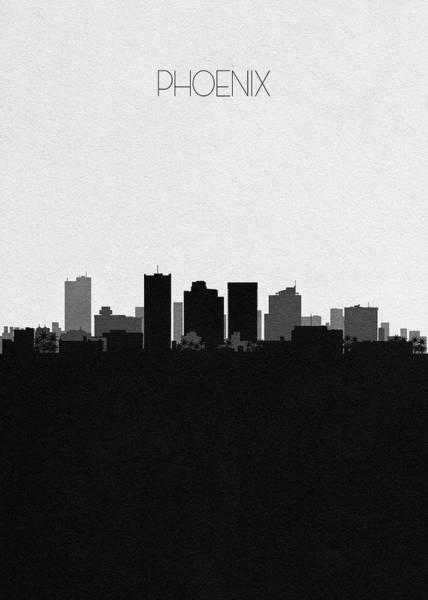 Wall Art - Digital Art - Phoenix Cityscape Art by Inspirowl Design