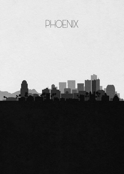Wall Art - Digital Art - Phoenix Cityscape Art V2 by Inspirowl Design