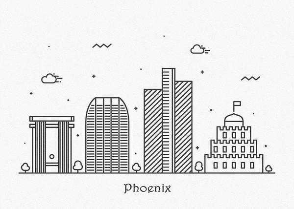 Wall Art - Drawing - Phoenix Cityscape Travel Poster by Inspirowl Design