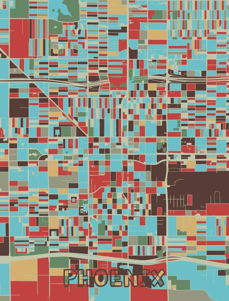 Wall Art - Digital Art - Phoenix Map Retro 3 by Bekim M