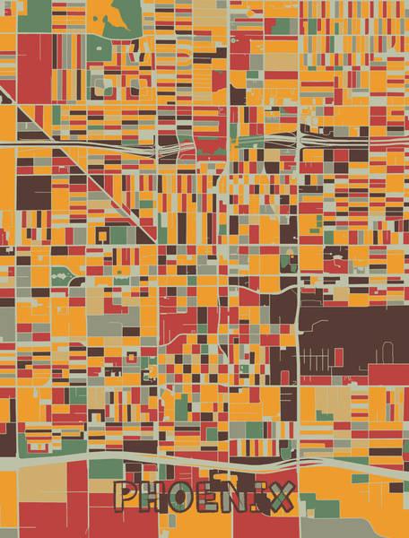 Wall Art - Digital Art - Phoenix Map Retro by Bekim M