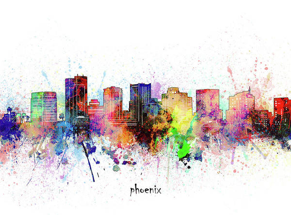 Wall Art - Digital Art - Phoenix Skyline Artistic by Bekim M
