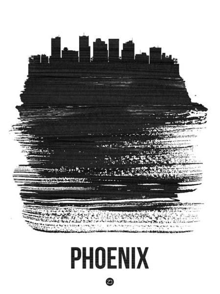 Country Mixed Media - Phoenix Skyline Brush Stroke Black by Naxart Studio