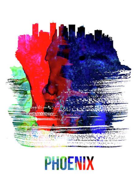 Country Mixed Media - Phoenix Skyline Brush Stroke Watercolor   by Naxart Studio