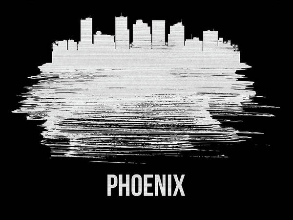 Country Mixed Media - Phoenix Skyline Brush Stroke White by Naxart Studio