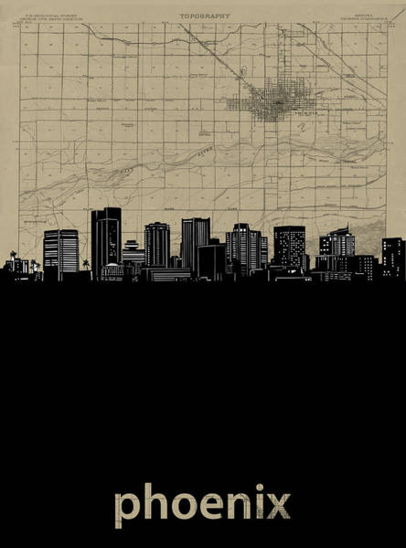 Wall Art - Digital Art - Phoenix Skyline Map by Bekim M