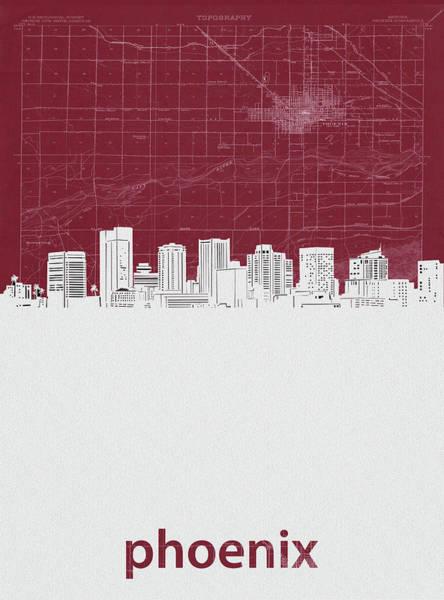 Wall Art - Digital Art - Phoenix Skyline Map Red by Bekim M