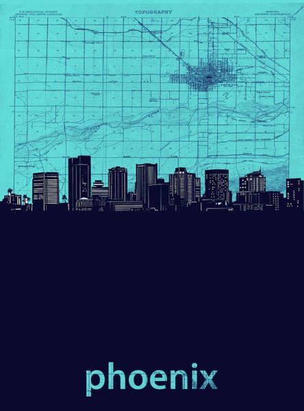 Wall Art - Digital Art - Phoenix Skyline Map Turquoise by Bekim M