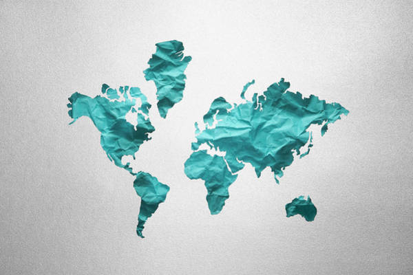 Texture Photograph - Photo Illustration Of World Map by Thomas Northcut