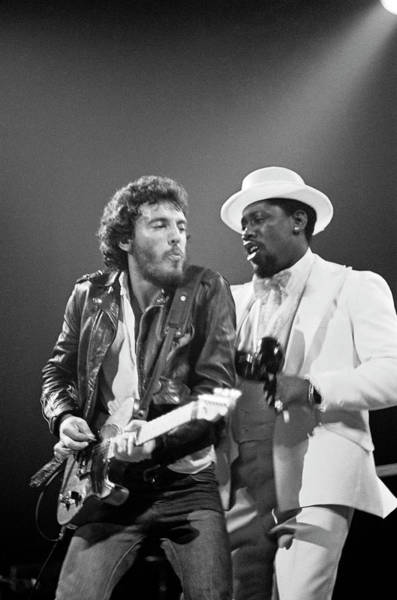 1970 Photograph - Photo Of Bruce Springsteen And Clarence by Fin Costello