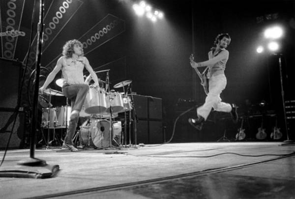 Jumping Photograph - Photo Of Pete Townshend And Roger by David Redfern