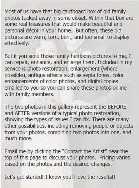 Photograph - Photo Restorations by Susan Molnar