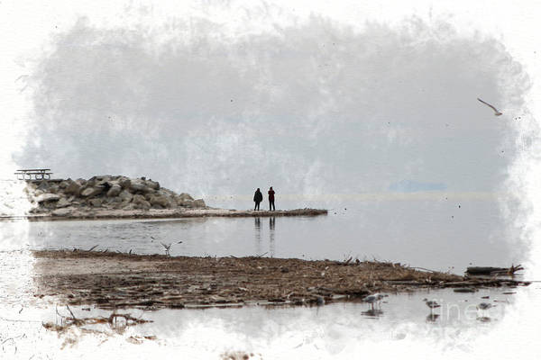 Photograph - Photographers At The Salton Sea In Digital Watercolor by Colleen Cornelius