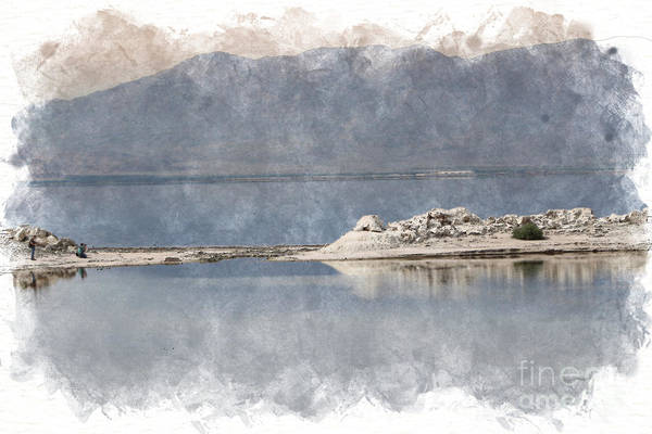 Photograph - Photography At A Sandbar Salton Sea In Digital Watercolor by Colleen Cornelius