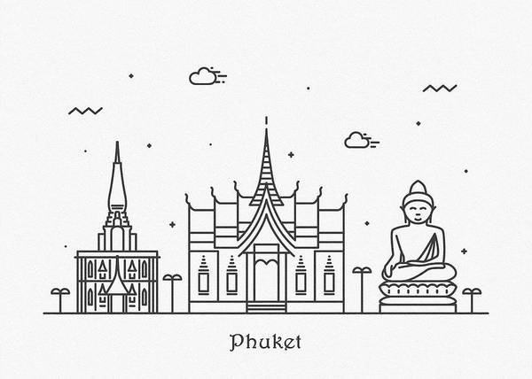 Wall Art - Drawing - Phuket Cityscape Travel Poster by Inspirowl Design