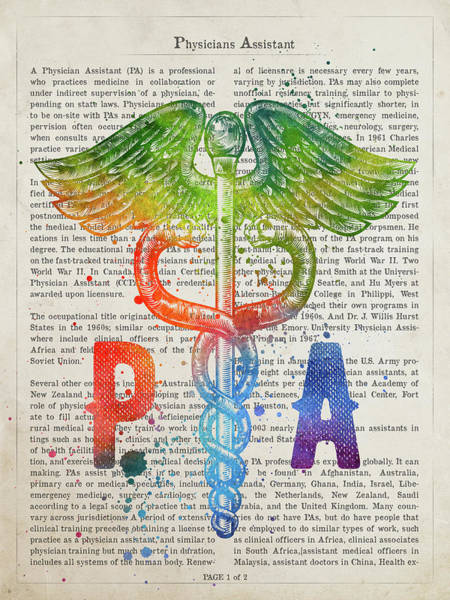 Wall Art - Digital Art - Physicians Assistant Gift Idea With Caduceus Illustration 03 by Aged Pixel