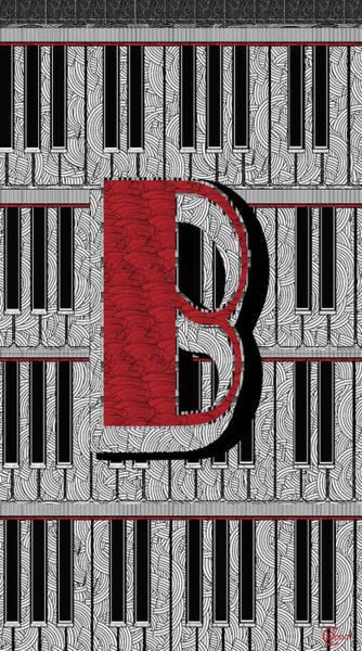 Digital Art - Piano Deco Monogram B by Cecely Bloom