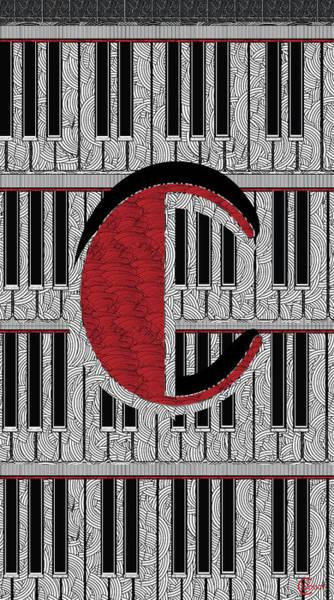 Digital Art - Piano Deco Monogram C by Cecely Bloom