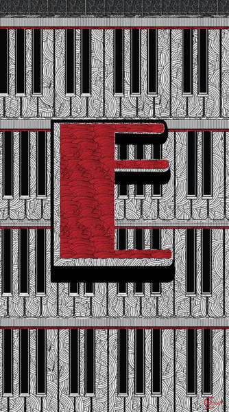 Painting - Piano Deco Monogram E by Cecely Bloom