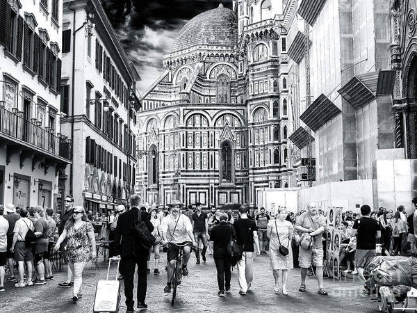 Photograph - Piazza Del Duomo Days Florence by John Rizzuto